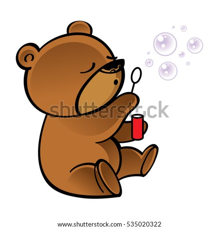 Funny little bear blowing bubbles in the air