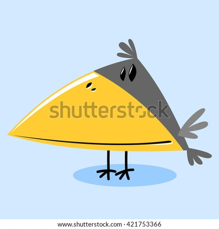 funny little bird on a blue background