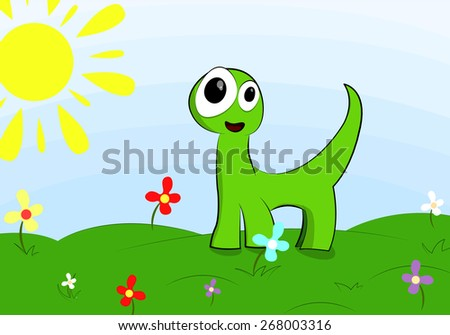 funny little dinosaur on the lawn with flowers
