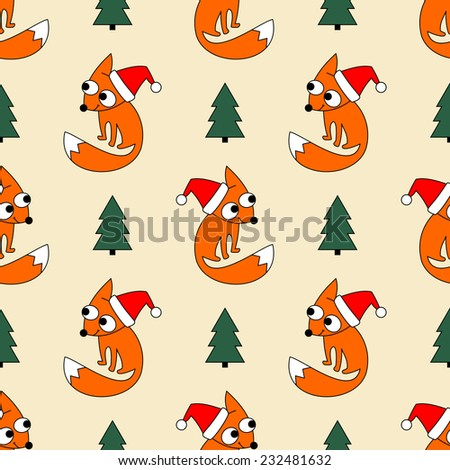 Funny little foxy in Christmas cap. Seamless winter holidays theme fox forest and Christmas tree background pattern in vector.  - stock vector