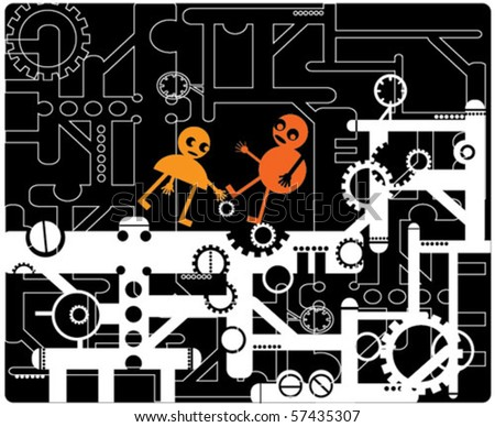 Funny little men among the factory machinery - stock vector