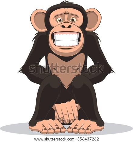 Funny little monkey - stock vector