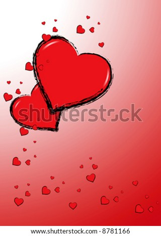 Funny love card full of happy red hearts over a gradient red background - stock vector