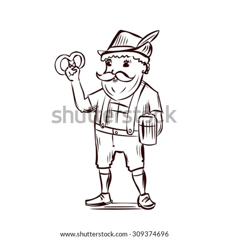 Funny man in traditional Bavarian costume. Hand drawn cartoon vector illustration