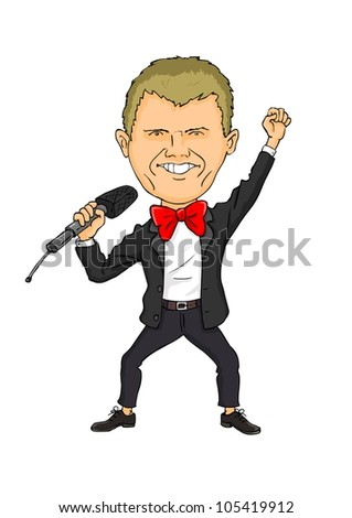 Funny man with a microphone in the hands on white background - stock vector