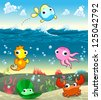 Funny marine family in the sea. Vector and cartoon illustration - stock vector