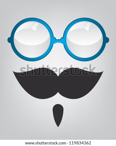 Funny mask blue sunglasses and mustache - stock vector