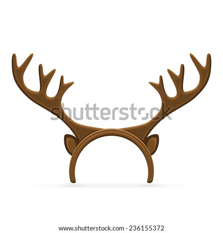 Funny mask with Christmas reindeer horns isolated on white background, illustration. - stock vector