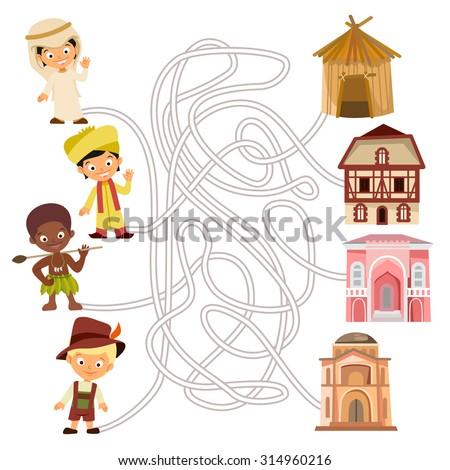 Funny maze game. Help people from around the world to find right suitable house. Educational game for children. Maze concept. Vector illustration - stock vector