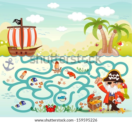 Funny maze game, Pirate try to find the treasure in the sea, illustrator Vector - stock vector