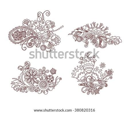 Funny mehndi floral design - stock vector