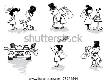 Funny Men - wedding and newly-married - stock vector