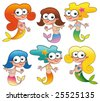 Funny mermaids. Cartoon and vector isolated characters - stock vector