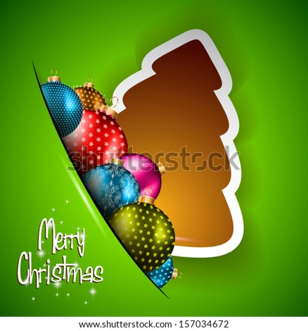 Funny 2014 Merry Christmas background with stylized paper tree and baubles. - stock vector