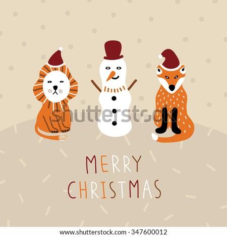 Funny Merry Christmas card - stock vector