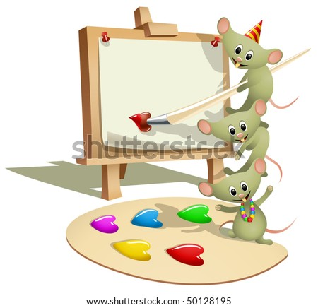 Funny Mice Teaching How to Paint (vector). Can be used as valentines card - stock vector
