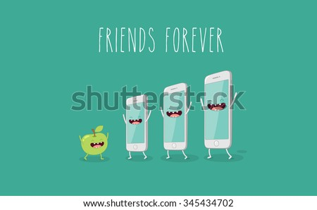 Funny mobile phone. Vector illustration. Friends forever. - stock vector