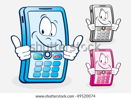 Funny mobile telephone. Vector Illustration - stock vector