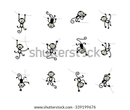 Funny monkey collection for your design. Vector illustration