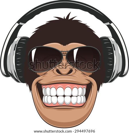 Funny monkey with glasses - stock vector