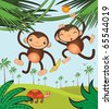Funny monkeys - stock vector