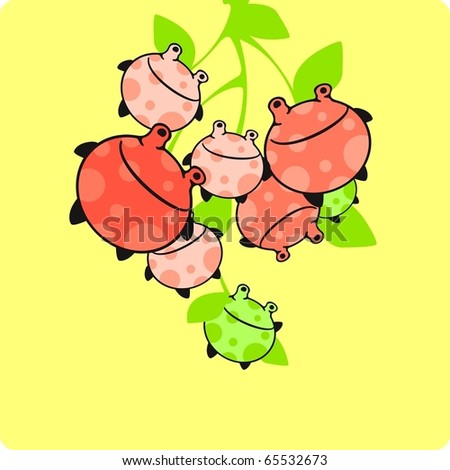Funny monster fruit card - stock vector