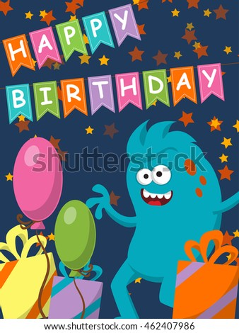 Funny monster with gifts and balloons. Happy Birthday. Vector illustration