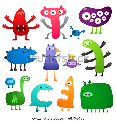 Funny monsters - stock vector