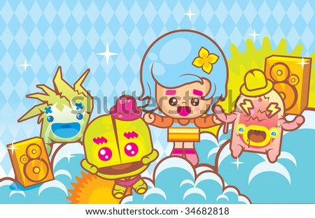 Funny monsters band vector illustration