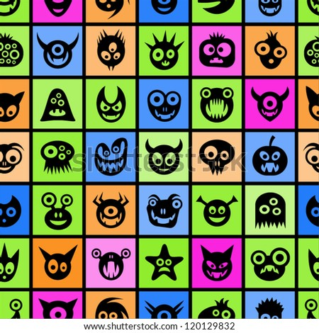 Funny monsters. Colorful squared seamless pattern.
