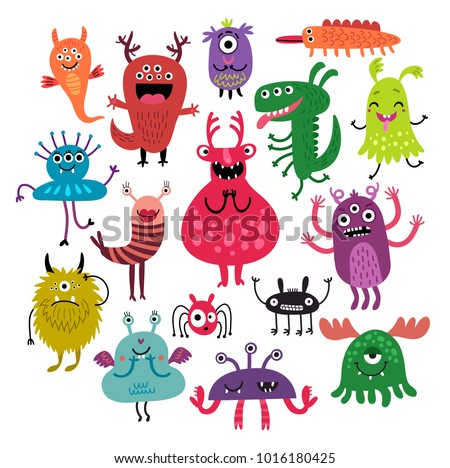 Funny monsters set. Vector illustration