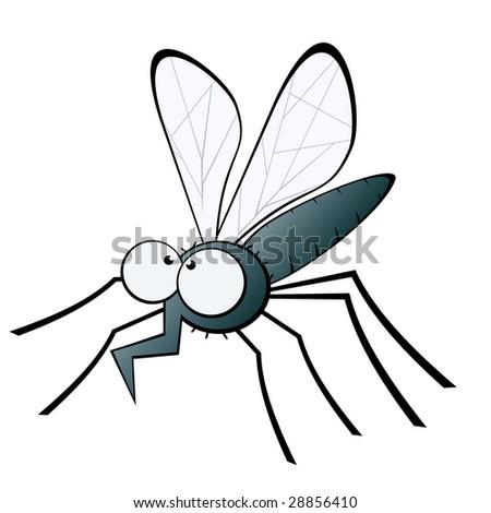 funny mosquito illustration - stock vector