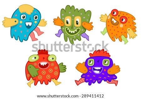 funny multicolored monsters