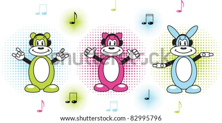funny musicians on the music background - stock vector