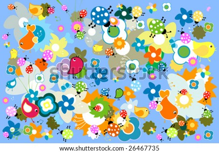 funny nature background - stock vector
