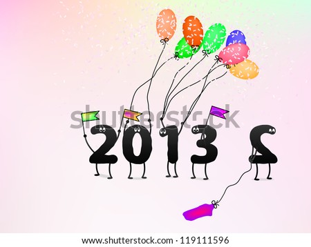 Funny 2013 New Year's Eve greeting card. + EPS8 vector file - stock vector