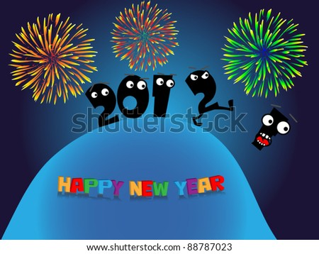 Funny New Year's greeting card - stock vector