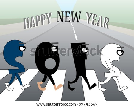 Funny New Year's greeting card where numbers are crossing the street - stock vector