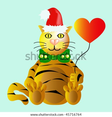 Funny New Year's Tiger with heart balloon - stock vector