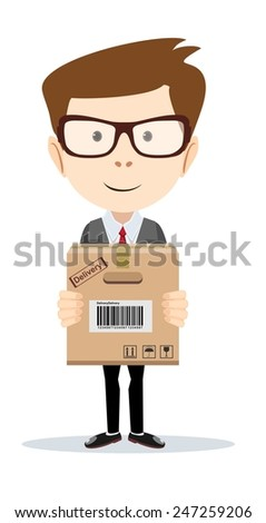 Funny office worker man with boxes on the white background  for use in presentations, etc- Stock Vector illustration - stock vector