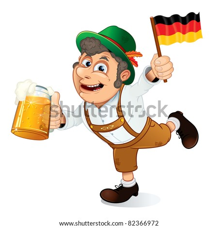Funny Oktoberfest Man with Beer Stein and Flag of Germany, vector illustration. - stock vector