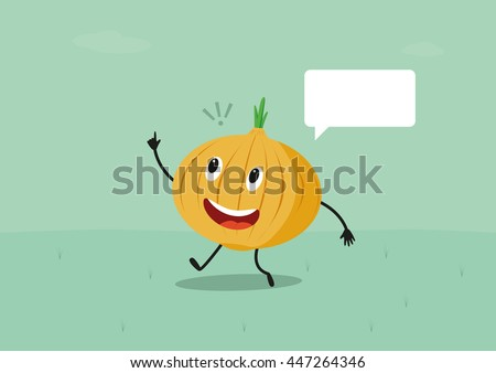 Funny onion have a brilliant idea. Vector cartoon character illustration