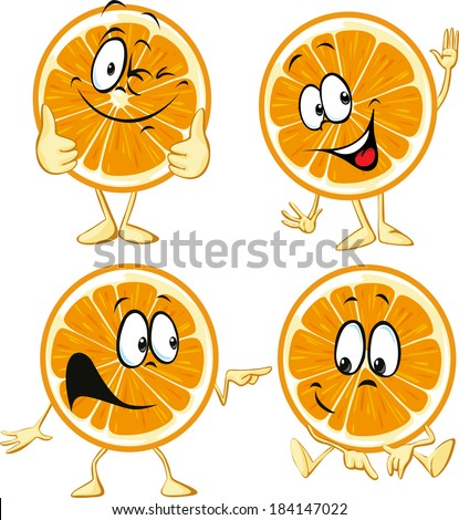 funny orange cartoon wit hands and legs isolated on white background - stock vector