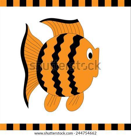 Funny orange fish with black stripes. Vector illustration - stock vector