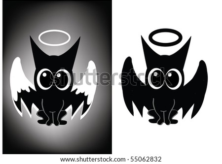 Funny owl cat - stock vector