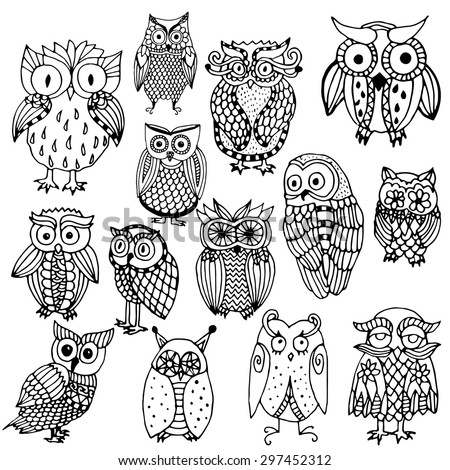 Funny owl illustration- multiple owl variations (original drawing vectorized)  - stock vector