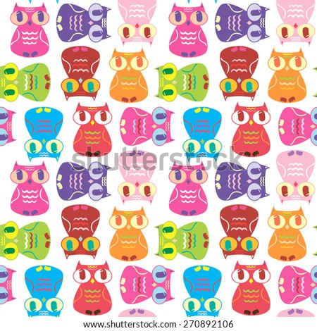funny owl pattern 2 - stock vector