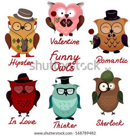 funny owls. set for your design - stock vector