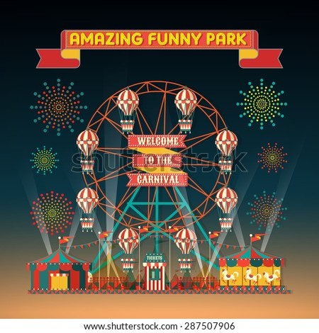 FUNNY PARK CARNIVAL NIGHT SCENE ELEMENTS - stock vector