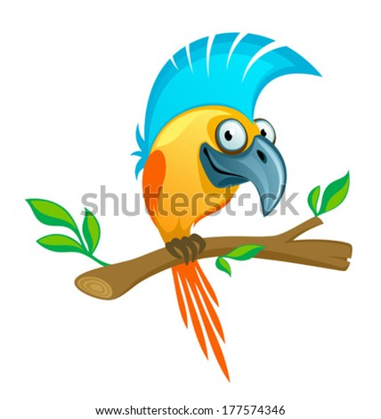Funny parrot - stock vector